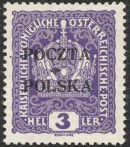 1919 3h Krakow VF, MNH Certified - Polish Stamp