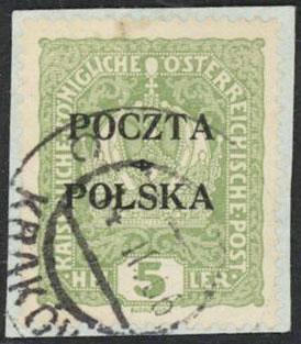 1919 5h Krakow VF UsedColor Certificate - Polish Stamp