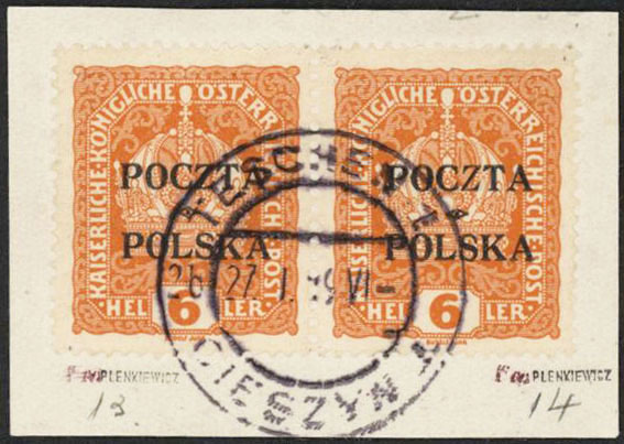 1919 6h Krakow Pair VF UsedCertified - Polish Stamp