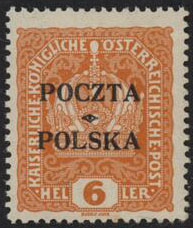 1919 Krakow 6hF-VF VLHSigned Twice - Polish Stamp