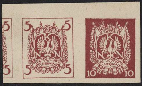 1914 Polish Legions Rare Imp Pair VF Berbeka Certificate - Polish Stamp