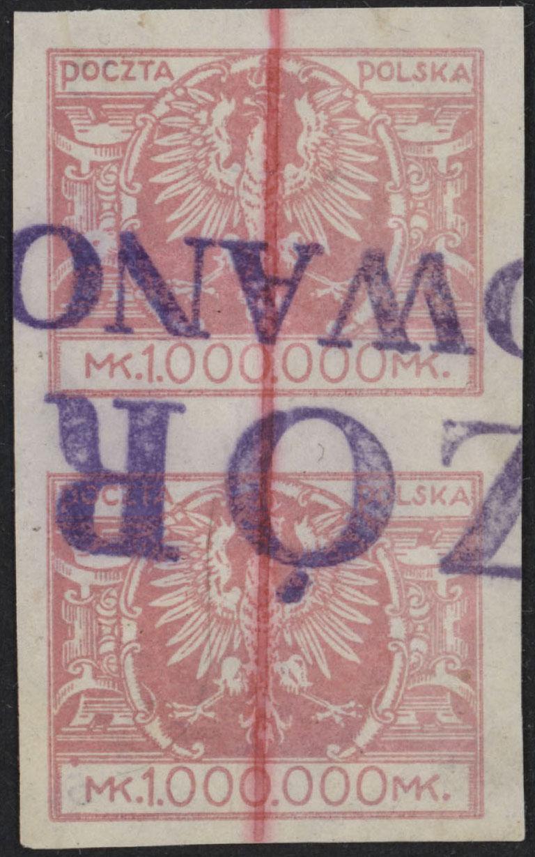 Scott: Poland 213 Pair VFRare HandstampsWalocha Certificate - Polish Stamp
